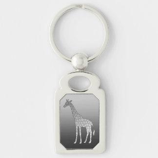 Porte-clés Girafe géométrique moderne, gris argenté/gris