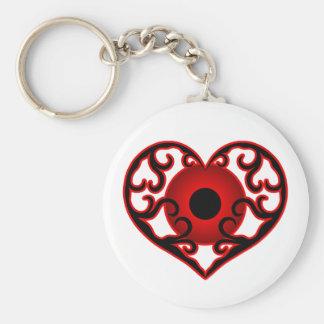 Porte-clés Globe oculaire rouge au coeur