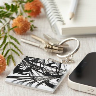 Porte-clés Gorge noire et blanche de fougère