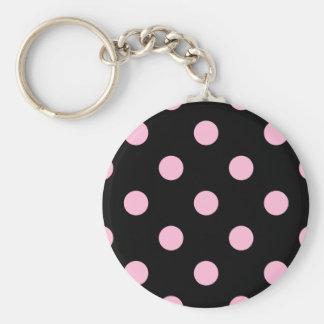 Porte-clés Grand pois - sucrerie de coton sur le noir