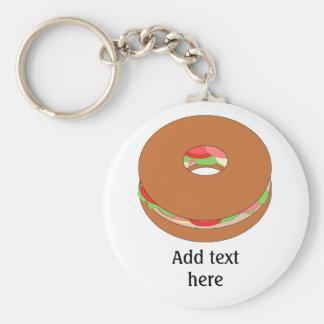 Porte-clés Graphique de bagel : Ajoutez votre texte pour une