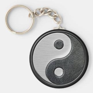 Porte-clés Graphique en cuir et en acier de Yin Yang d'effet