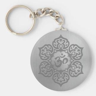 Porte-clés Graphique floral d'Aum d'effet d'acier inoxydable