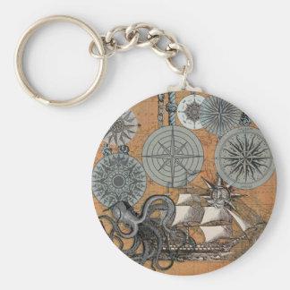 Porte-clés Graphique nautique vintage d'impression d'art de