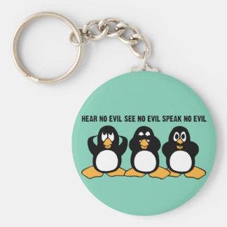 Porte-clés Graphique sage de conception de trois pingouins