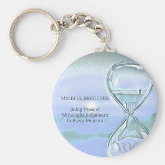 Porte-clés Gratitude apaisante bleue en pastel de sablier de