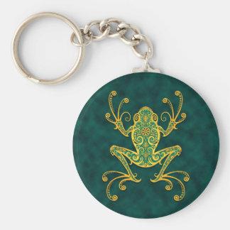 Porte-clés Grenouille d'arbre bleue d'or complexe