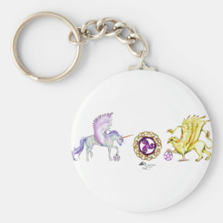 Porte-clés griffon de licorne d'essence de spirale de symbole