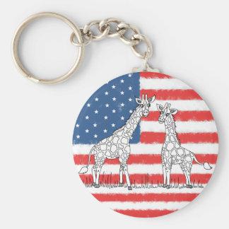 Porte-clés Griffonnage de conservation de girafe de drapeau