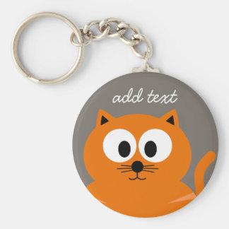 Porte-clés Gros chat orange mignon avec le Taupe personnalisé