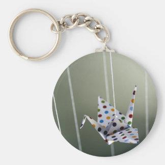 Porte-clés grue d'origami de point de polka