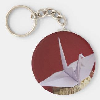 Porte-clés grue élégante d'origami
