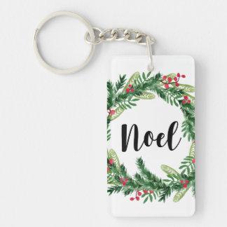 Porte-clés Guirlande d'aquarelle de Noël