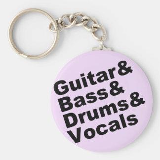 Porte-clés Guitar&Bass&Drums&Vocals (noir)