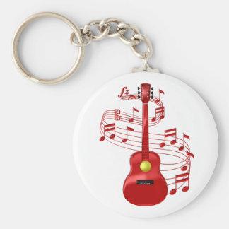 Porte-clés Guitare acoustique rouge avec des notes de musique