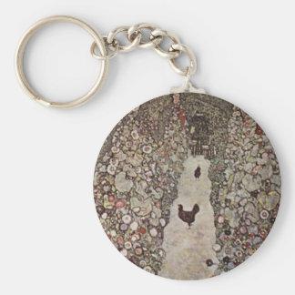 Porte-clés Gustav Klimt - jardin avec des coqs