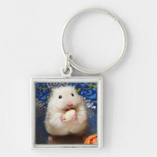 Porte-clés Hamster syrien pelucheux Kokolinka mangeant une gr