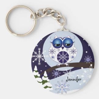 Porte-clés Hibou mignon de neige et porte - clé nommé de