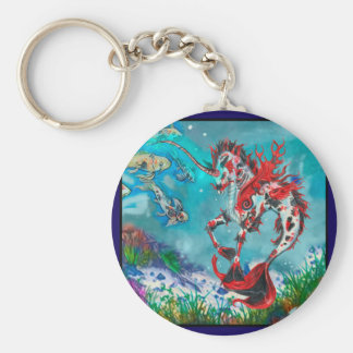 Porte-clés Hippocampe bleu rouge Wat de Pegasus de licorne de