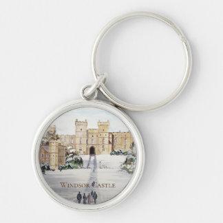 Porte-clés Hiver à la peinture de paysage de château de