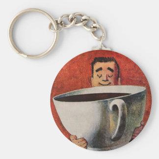 Porte-clés Homme heureux vintage buvant la tasse de café