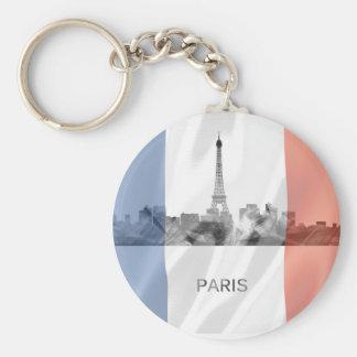 Porte-clés Horizon de Paris, France avec le drapeau français