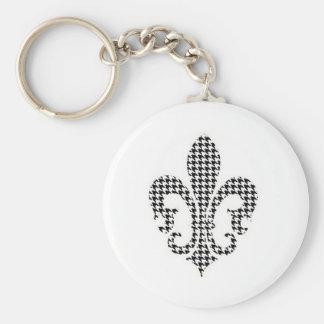 Porte-clés houndstooth fleur de lis