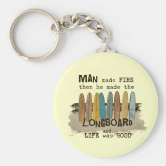 Porte-clés Humour surfant de premier homme avec Longboards