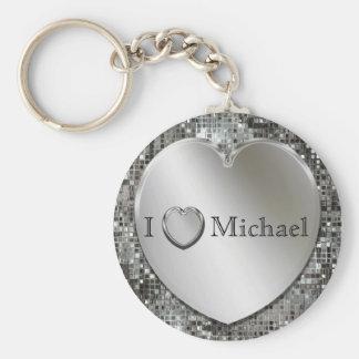 Porte-clés I porte - clé argenté de coeur de coeur…