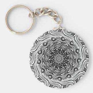Porte-clés Illusion optique de griffonnage fleuri de zen