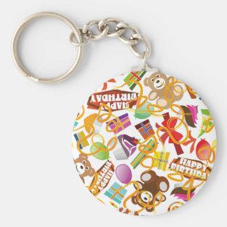 Porte-clés Illustration de motif de joyeux anniversaire