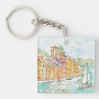 Porte-clés Illustration de port de Porofino avec le voilier