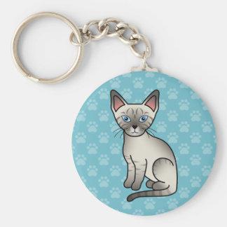Porte-clés Illustration mignonne de bande dessinée de chat
