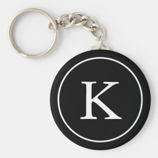 Porte-clés Initiale noire et blanche de monogramme du cercle