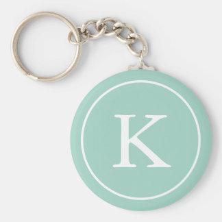 Porte-clés Initiale turquoise de monogramme du cercle |
