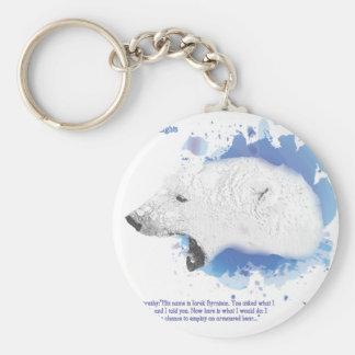 Porte-clés Iorek, ours blindé de ses matériaux foncés
