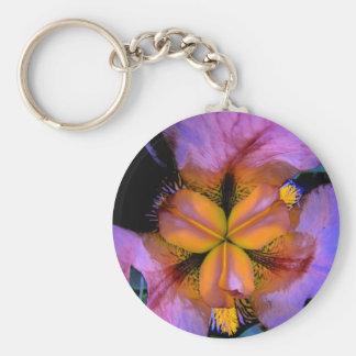 Porte-clés Iris lumineux pourpre et jaune unique vif