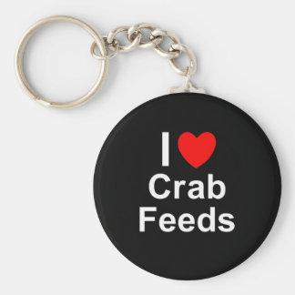 Porte-clés J'aime des alimentations de crabe de coeur