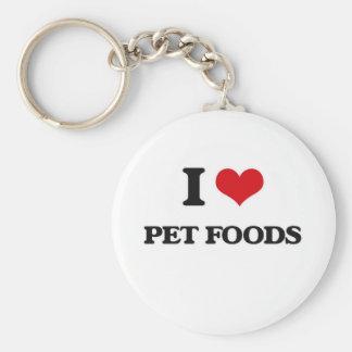 Porte-clés J'aime des aliments pour animaux familiers