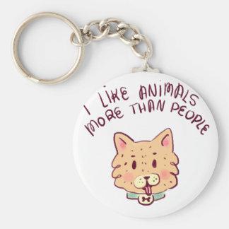 Porte-clés J'aime des animaux davantage que des personnes,