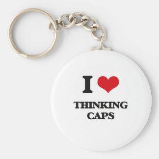 Porte-clés J'aime des casquettes de pensée