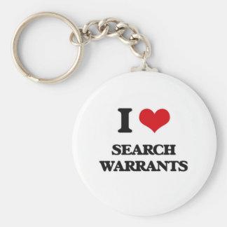 Porte-clés J'aime des mandats de perquisition