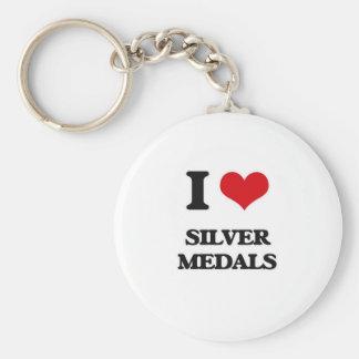 Porte-clés J'aime des médailles d'argent