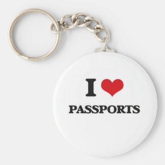 Porte-clés J'aime des passeports