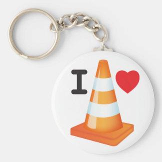 Porte-clés J'aime des travaux routiers de marqueurs de route
