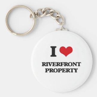 Porte-clés J'aime la propriété de façade d'une rivière