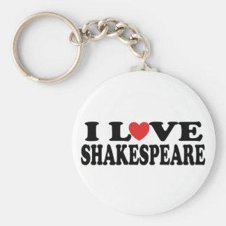Porte-clés J'aime le cadeau de Shakespeare