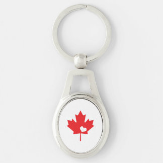 Porte-clés J'aime le Canada - coeur canadien de feuille