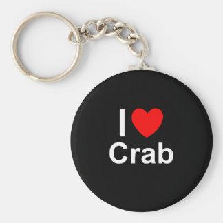 Porte-clés J'aime le crabe de coeur
