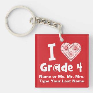 Porte-clés J'aime le _/enseignement de catégorie est travail
